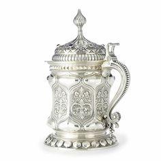 a fabergé massive silver tankard, moscow, 1895 Estimate 40,000—60,000 USD. LOT SOLD.96,000 USD.   ||| sotheby's n08302lot3dtbjen
