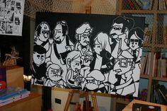I personaggi del libro a fumetti STORIE, 2011 The characters of the comicbook STORIES  Acrilico su tela / Acrylic on canvas 100X 120 cm