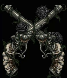 Pirates: #Pirate pistols with skull grips.