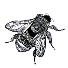 Items similar to Bee Wrapped Canvas Print - Giclee Zentangle on Etsy Insect Tattoo, Bee Tattoo, Doodles Zentangles, Bee Art, Insect Art, Bugs And Insects, Black And White Drawing, Animal Sketches, Scrapbook Sketches