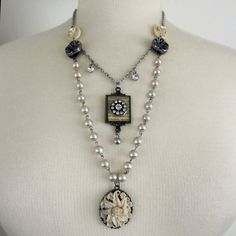 Valentine Gift Ideas - Jewelry - Double Strand Pearl & Crystal Necklace, $42