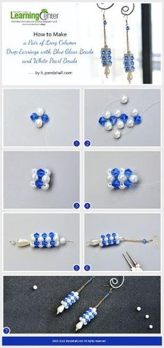 How to Make a Pair of Long Column Drop Earrings with Blue Glass Beads and White Pearl Beads from LC.Pandahall.com | Pinterest by Jersica