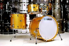 Yamaha Absolute Hybrid 5pc Drum Set Gold Champagne Sparkle Demo!