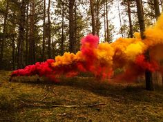 Colored smoke comes from vaporizing colored dyes.