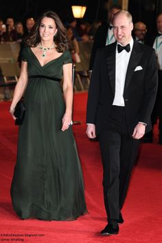 Bravo Kate!!!!  Absolutely stunning and didn't bow to political pressure! CLASS ACT!  The Duke and Duchess of Cambridge have arrived and walked the red carpet for the BAFTAs. Kate's wearing a deep green Jenny Packham dres...