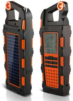 This is awesome. AM/FM/WB radio, digital clock with alarm, chronograph, altimeter, barometer, compass, auxiliary audio input, 1800mAh rechargeable battery, LED flashlight, solar panel for charing, & bottle opener.  Yes, please.