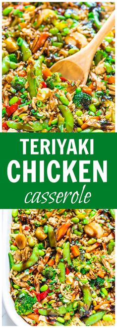 Teriyaki Chicken Casserole recipe — a DELICIOUS and EASY all-in-one meal with juicy chicken, crispy veggies, brown rice, and an addictive sticky teriyaki sauce. Great recipe for busy weeknights! Recipe at wellplated.com @wellplated
