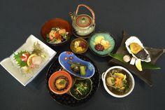 "September Kaiseki at Miyako Restaurant. Chrysanthemum Leaf Ohitashi Sansho, Seasoned Ayu Fish, Pink Shrimp Tofu Cake, Sashimi Ahi and Seabream, Grilled Oyster ""Misoyaki"" Style, Lobster and Scallop in Ankake Sauce, Rice w/ Salmon and Ikura ""Chazuke"" w/ Pickles, Dessert Black Sugar Mochi and Green Tea Ice Cream.  Reservation Required for Monthly Kaiseki."