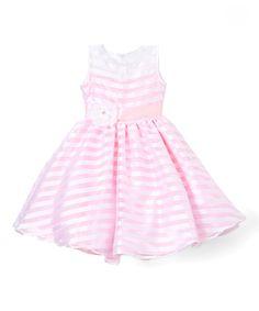 Pink Stripe Flower-Sash Dress - Infant, Toddler & Girls