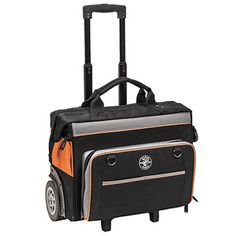 Tradesman Pro™ Organizer Rolling Tool Bag(Cat. No. 55452RTB) – Rugged 6-inch wheels easily handle rough terrain. 24 pockets for maximum tool storage. Orange interior for easy tool visibility. Molded kick plate to protect from the elements. Wide open interior easily accommodates large tools. Reinforced metal frame stays open for easy loading/unloading. Load tested up to 200 lbs. Heavy-duty telescoping handle. 600D ballistic weave for durability. #KleinTools