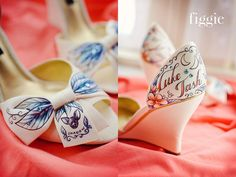 #Coral and #blue #wedding #theme, Hand-painted by Figgie, complete with portraits of their dogs! | www.figgieshoes.com