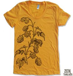 American Apparel tee with hops printed