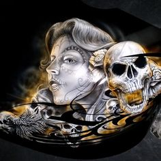 Grim reaper and fire paint job on a harley davidson for Tattoo shops in eau claire
