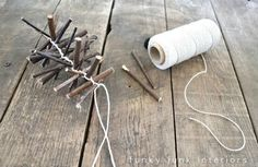 Funky Junk Interiors: How to make a twig garland with video - Day 5 Noel Christmas, Rustic Christmas, Simple Christmas, Winter Christmas, Christmas Wreaths, Christmas Crafts, Christmas Decorations, Christmas Ornaments, Primitive Decorations