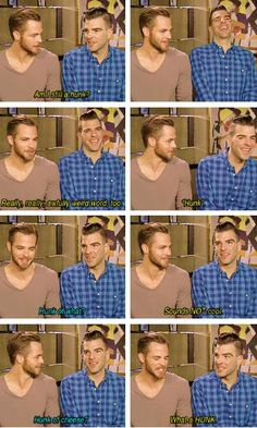 Zachary Quinto and Chris Pine. these two are too much to handle!!!!!