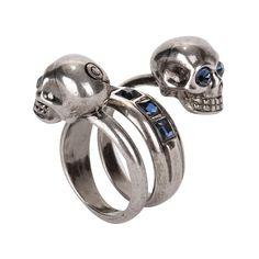 Alexander McQueen, silver crystal spiral twin skull ring.