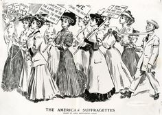 """A Harper's Weekly cartoonist depicts protesting suffragettes in an unsavory fashion, with signs reading """"We Don't Want a Thing We Are Just Showing Off"""" and """"America: The Land of the Woman — The Home of the Girl!"""" Following a long national campaign, public sentiment would gradually shift, resulting in the passage of the Nineteenth Amendment in June of 1919. Virginia, however, was one of nine southern states not to ratify the amendment, even though it went into effect as national law in August of 1920. Finally, in 1952, the state General Assembly ratified the Amendment. This cartoon first appeared in Harper's Weekly, Volume II, No. 2642, pp. 1166–1167.    Original Author: Flagg, James Montgomery  Created: August 10, 1907  Medium: Cartoon"""