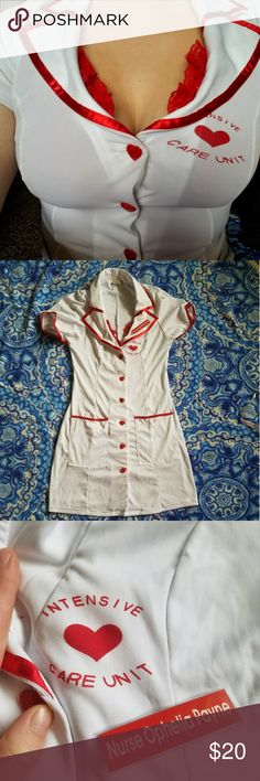 Sexy Nurse Costume Nurse Ophelia Payne can cure any ailments! Short and showy nurse costume comes with dress, tie on hat, choker with sparkle heart pendant, and white fishnet stockings. Only worn once. The stockings are a bit stained on the bottom of the foot area and they have a hole by the toes. Otherwise in great shape! Dreamgirls Other