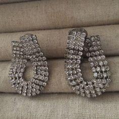 V-Day SpecialFab Rhinestone Earrings Exquisite Vintage Rhinestone Earrings - clip on. circa 1950s. Vintage Jewelry Earrings