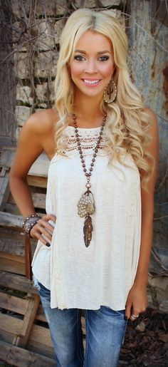 Enter code ASHLEYH10 at checkout for 10% off Blissful Crochet Ivory Tank - The Lace Cactus