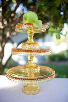 amber cake stand - two sizes stacked
