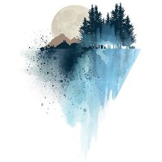 Blue mountain wall art, art print, watercolor poster, nature print,... ❤ liked on Polyvore featuring home, home decor, wall art, backgrounds, mountain paintings, blue home accessories, blue painting, mountain scene paintings and mountain home decor