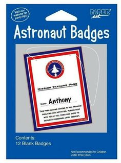 "Space Astronaut Badge 12 Pack. These badges read ""Mission Training Pass for NAME:_______ This pass allows access to all training facilities and activities. Please keep with you at all times and show to security personnel upon request."" Each pack includes 12 badges."