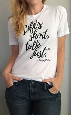"""This is for all those """"Gilmore Girls"""" lovers!!!  You know who you!  We've chosen some of our favorite quotes and designs from """"Gilmore Girls"""" and have no doubt these tees will make the perfect addition to your casual jean and t-shirt days."""
