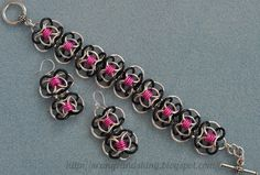 Coiled Butterfly chainmaille bracelet and earrings (kit from Blue Buddha Boutique)
