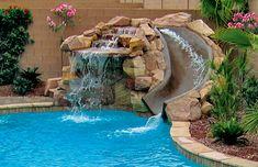 Pool Rock Slides built by Blue Haven Pools - Diy Pool Design Swimming Pool Slides, Luxury Swimming Pools, Dream Pools, Swimming Pools Backyard, Swimming Pool Designs, Lap Pools, Indoor Pools, Pool With Slide, Luxury Pools