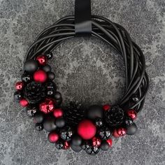 Great Home Decor Trends 2019 Black red christmas wreath. Door wreath of black fir For … Dark Christmas, Christmas Diy, Christmas Wreaths, Easy Diy Crafts, Xmas Decorations, Porch Decorating, Door Wreaths, Craft Gifts, Beaded Necklace