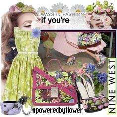 Always in Fashion if You're #poweredbyflower @NINEWEST, created by minniesoda.polyvore.com