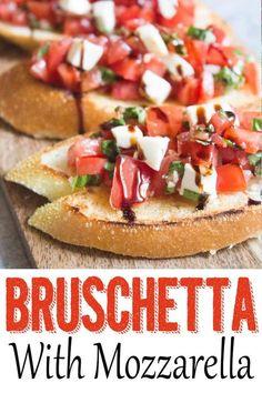 Bruschetta with Mozzarella - Coco and Ash Bruschetta with mozzarella, bruschetta recipe, easy brusch Omelettes, Sandwiches, Appetizer Recipes, Italian Appetizers Easy, Cold Appetizers, Birthday Appetizers, Gourmet Appetizers, Birthday Snacks, Appetizer Ideas