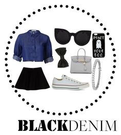 """Black Denim"" by jojo888 ❤ liked on Polyvore featuring Max&Co., Converse, Hermès, Blue Nile and ASOS"