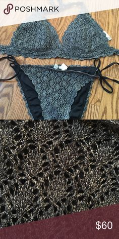 BECCA bikini Worn & cleaned. Silver crochet, black inside. D cup top, M bottoms. BECCA Swim Bikinis