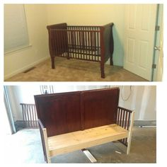 Repurpose crib...bench :)
