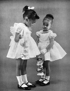 Vintage photo / Two beautiful little girls in pretty Sunday dresses
