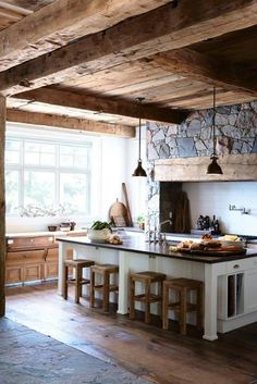 Love the wood on the ceiling!  Country Home Decor | Country Chic Decor