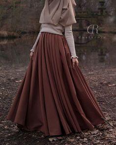 Cotton-Blend Solid Casual Skirts - Coffee S Street Hijab Fashion, Muslim Fashion, Modest Fashion, Fashion Dresses, Long Skirt Fashion, Apostolic Fashion, Casual Hijab Outfit, Hijab Dress, Dresses For Hijab