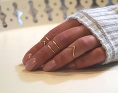 Midi Ring Set of 5, Adjustable Chevron Knuckle Stackable Jewelry in Gold, Silver or Copper