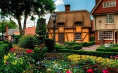 Preview wallpaper nature, house, flowers, flowerbed