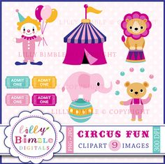 Circus Fun - Colorful graphics for invitations, card making, crafts and more.