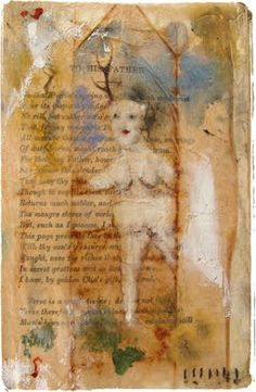 "lynne hoppe – watercolors, gouache, oil pastel, colored pencil, tea bag & beeswax - 4"" x 6"""