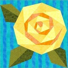 Paper Piecing | Paper piecing / Rosie's Rose Paper Pieced Quilt Block...would also ...