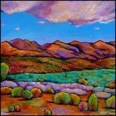 Desert landscape near Santa Fe clouds mountains and cactus