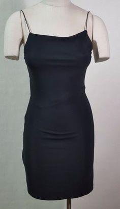 7881794d City Triangle Black Mini Dress Sz Medium Open Back Stretch Sexy Body Con