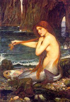 John William Waterhouse >> A marmaid  |  (Oil, artwork, reproduction, copy, painting).