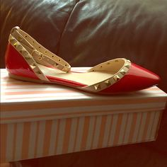ed13a70b66 Shop Women's Red size Flats & Loafers at a discounted price at Poshmark.  Red with gold studs. Size With an ankle strap.