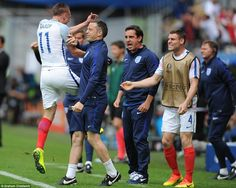 Vardy made a bee-line for the England bench where he was greeted by a jubilant James Milner