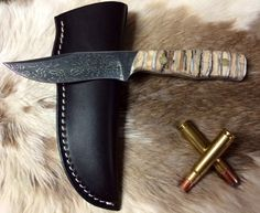 It's 10,000 Years in the making!! Incredible Rapid River Knifeworks Woolly Mammoth Fossilized & Dyed Tooth Handle Clip Point Hunting Knife with Beautiful Fracture Pattern Damascus Steel Blade!